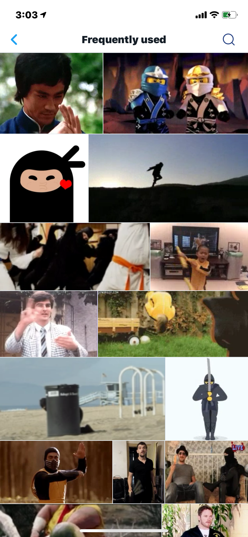 Screenshot of frequently used GIFs for @NinjaForms.