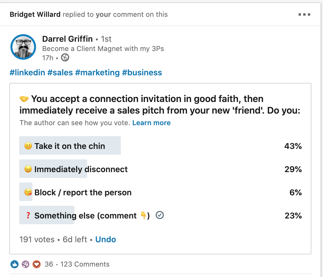 Screenshot of Poll from Darrel Griffin on LinkedIn