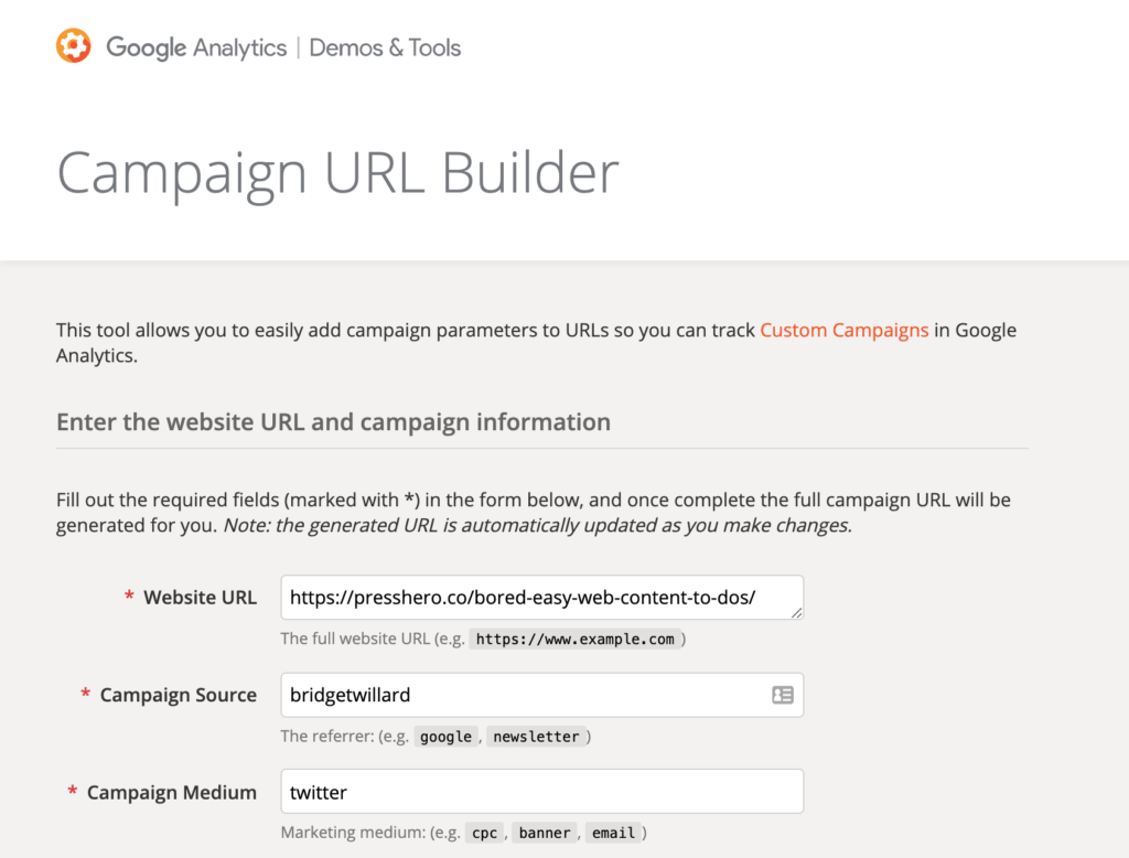 campaign url builder screenshot