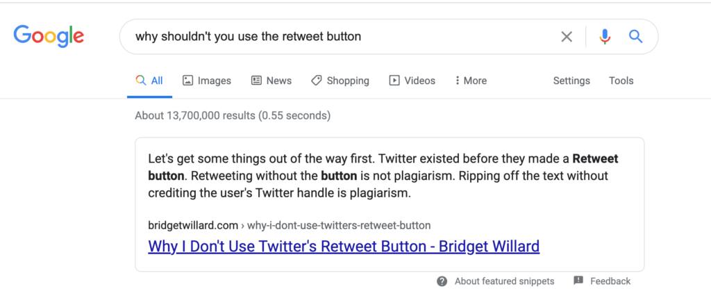 featured snippet retweet button bridget