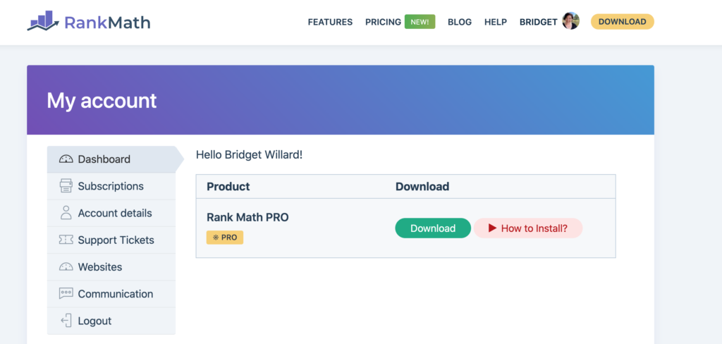 Screenshot of the RankMath Pro Dashboard