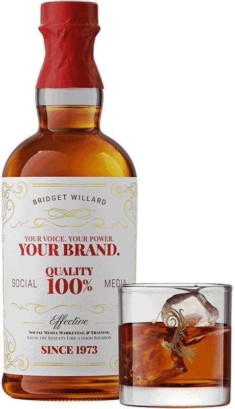 Bridget's social media bourbon bottle and glass