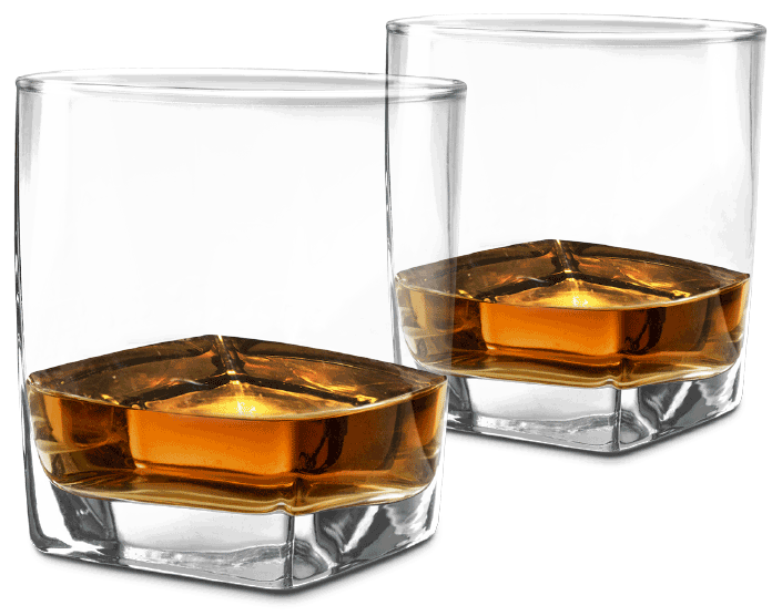 two bourbon glasses transparent background