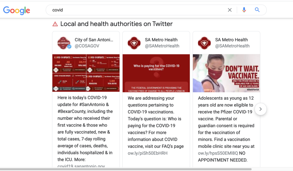 COVID local tweet serp screenshot