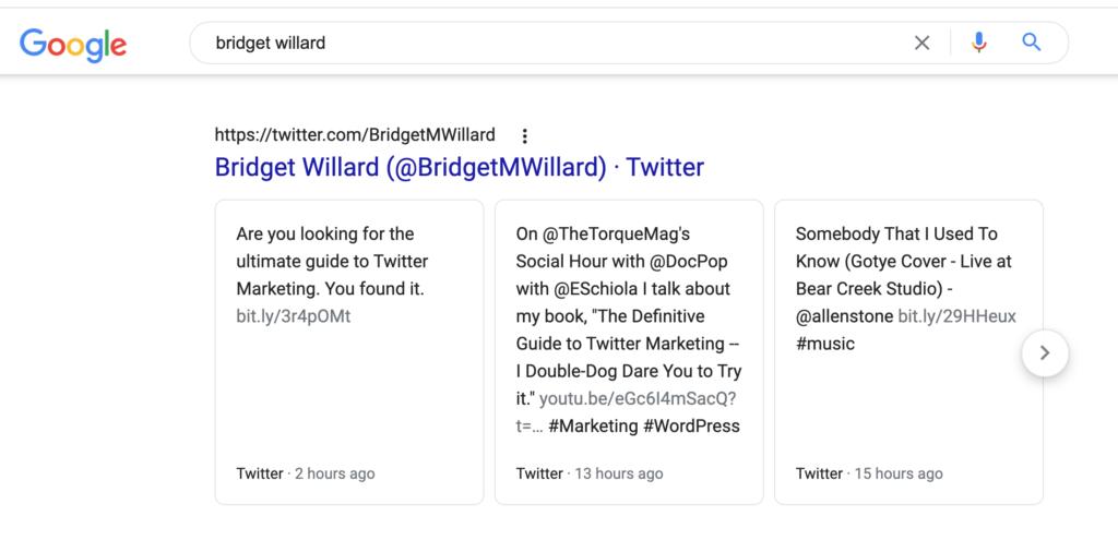 bridget willard tweet serp screenshot