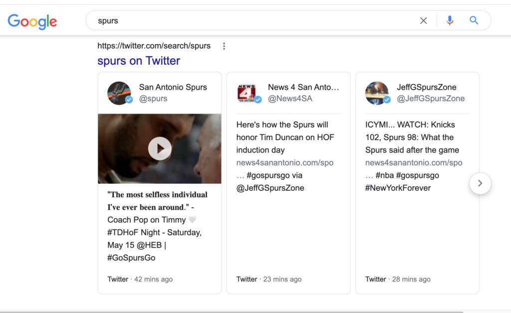 spurs tweet serp screenshot