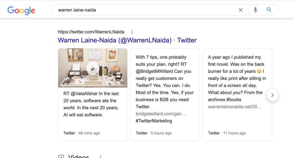 warren tweet serp screenshot