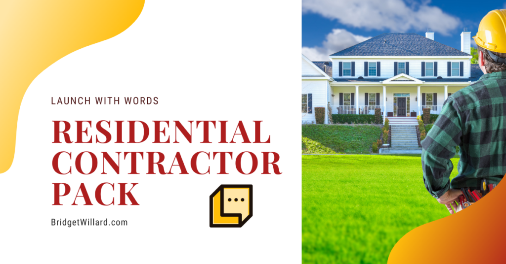 residential contractor pack launch with words