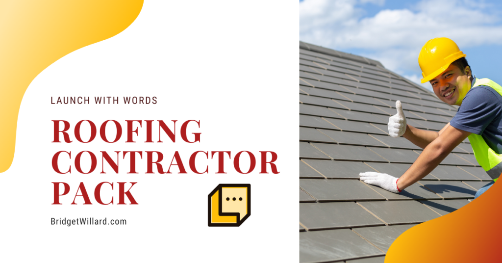 featured image for roofing content pack launch with words